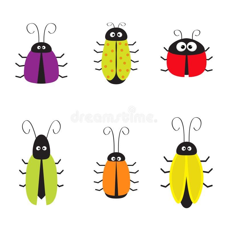 De leuke reeks van de insectenkakkerlak Grappig carttonkarakter Babyontwerp Witte achtergrond Geïsoleerde Vlak Ontwerp vector illustratie
