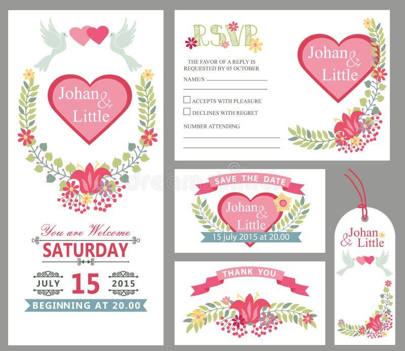 De leuke reeks van het het ontwerpmalplaatje van de huwelijkskaart Bloemen decor royalty-vrije illustratie