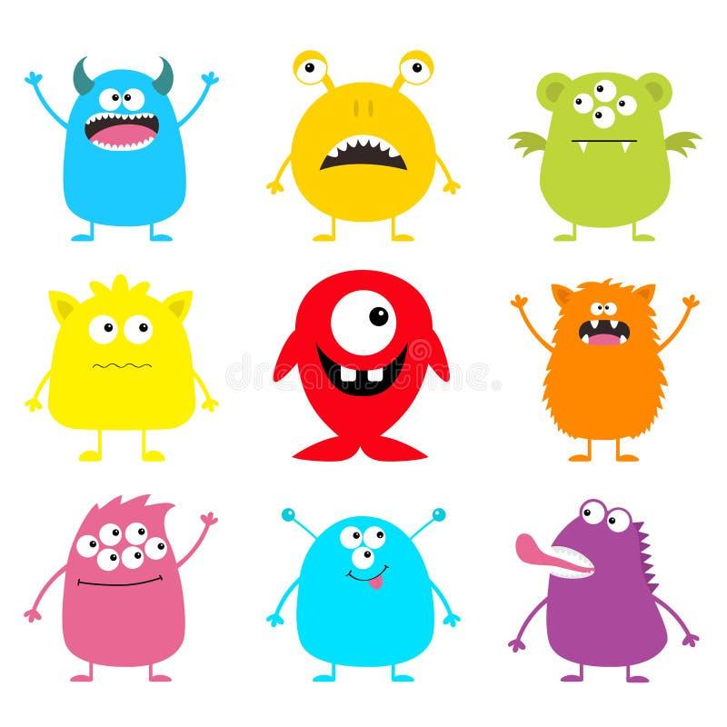 De leuke reeks van het monsterpictogram Gelukkig Halloween Beeldverhaal kleurrijk eng grappig karakter Ogen, tong, handen omhoog  stock illustratie