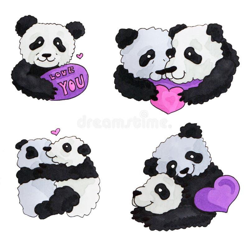 De leuke Reeks van de Panda Iluustration van de tellerskunst voor poctcard grappige panda's met hart Voor St Valentine ` s dag royalty-vrije illustratie