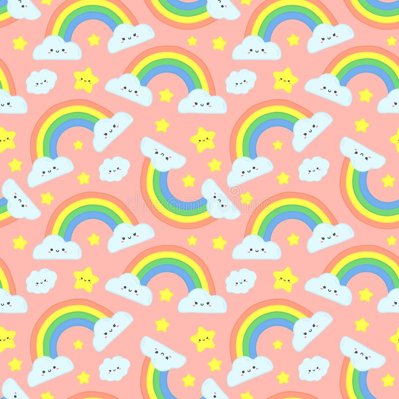 De leuke regenboog betrekt naadloos patroon Roze sterrige hemel, grappige regenbogen en de gelukkige vectorillustratie van het wo stock illustratie