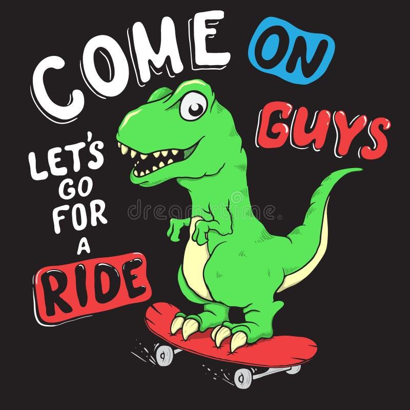 De leuke ritten van Dino op skateboarder vector illustratie