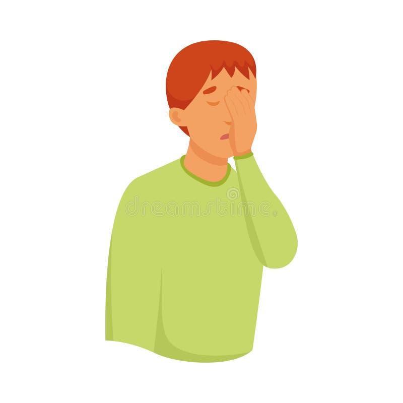 De leuke rode haarjongen in groene sweater behandelt zijn gezicht met palm vector illustratie