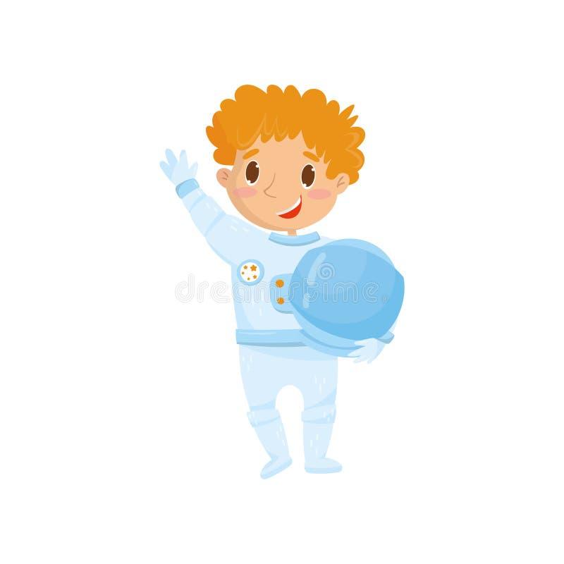De leuke roodharige tienerjongen wil voortaan kosmonaut zijn Beeldverhaalkind die astronautenkostuum dragen en beschermend houden royalty-vrije illustratie