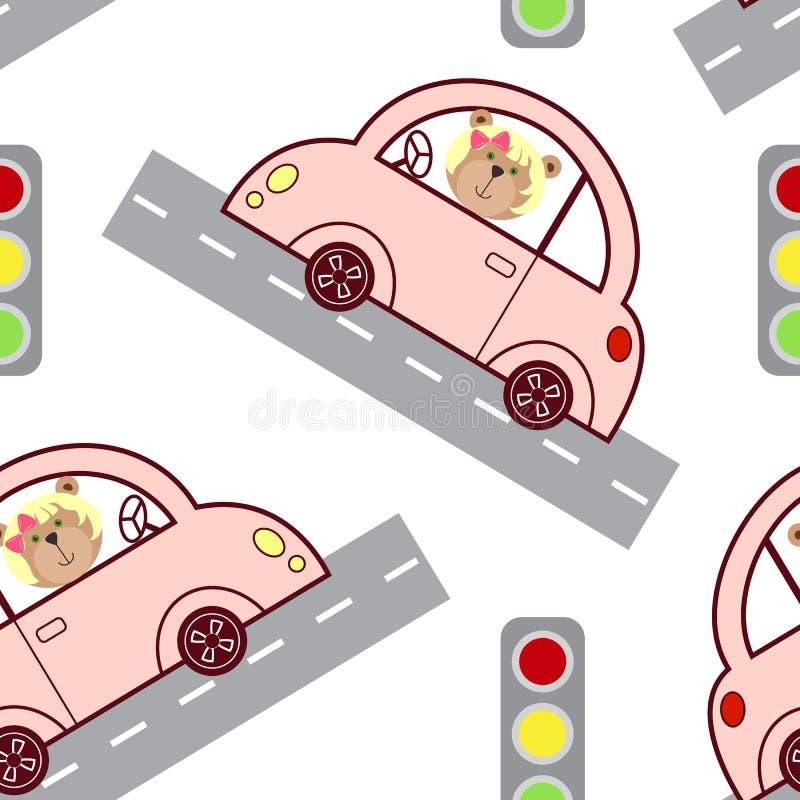 De leuke roze auto, de verkeerslichten en de auto met een glimlachende baby dragen meisje De kleine auto met een blonde draagt we vector illustratie