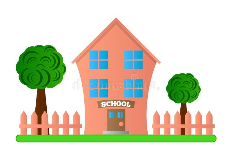 De leuke Roze Schoolbouw met Werf en Omheining royalty-vrije illustratie