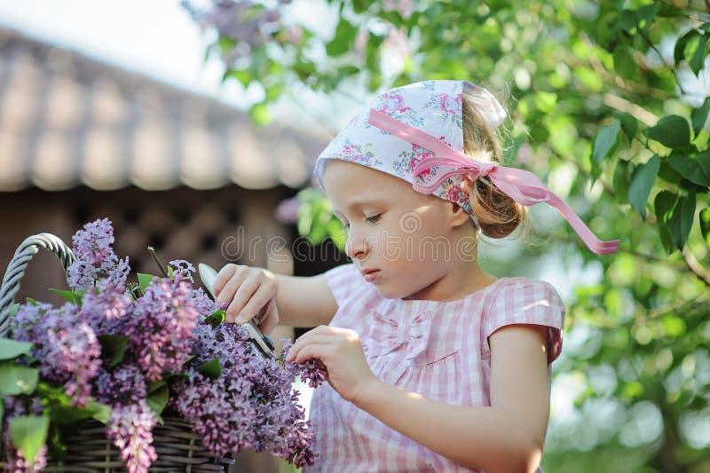De leuke scherpe seringen van het kindmeisje in de lentetuin royalty-vrije stock afbeelding