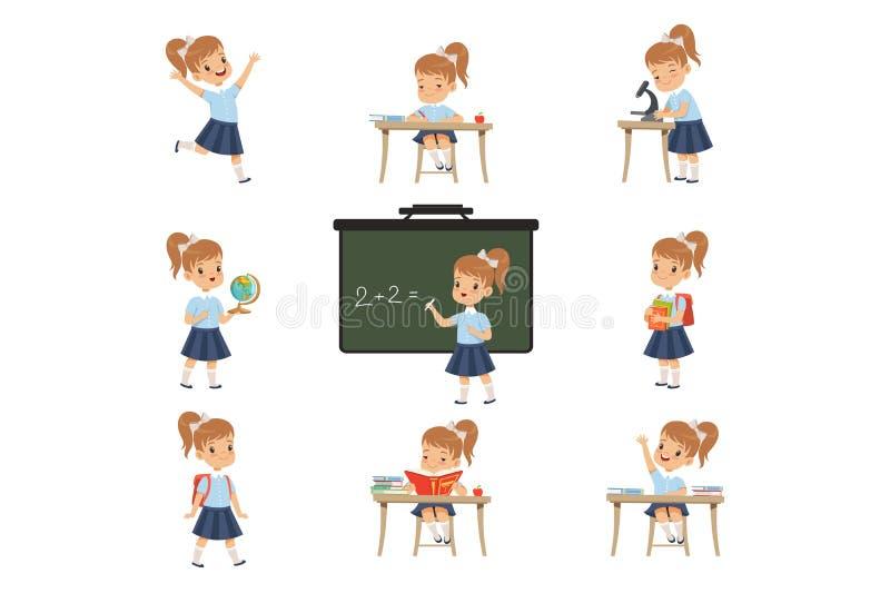 De leuke schoolmeisjestudent in eenvormig in diverse activiteiten plaatste, meisje bij lessen van biologie, aardrijkskunde, wisku royalty-vrije illustratie