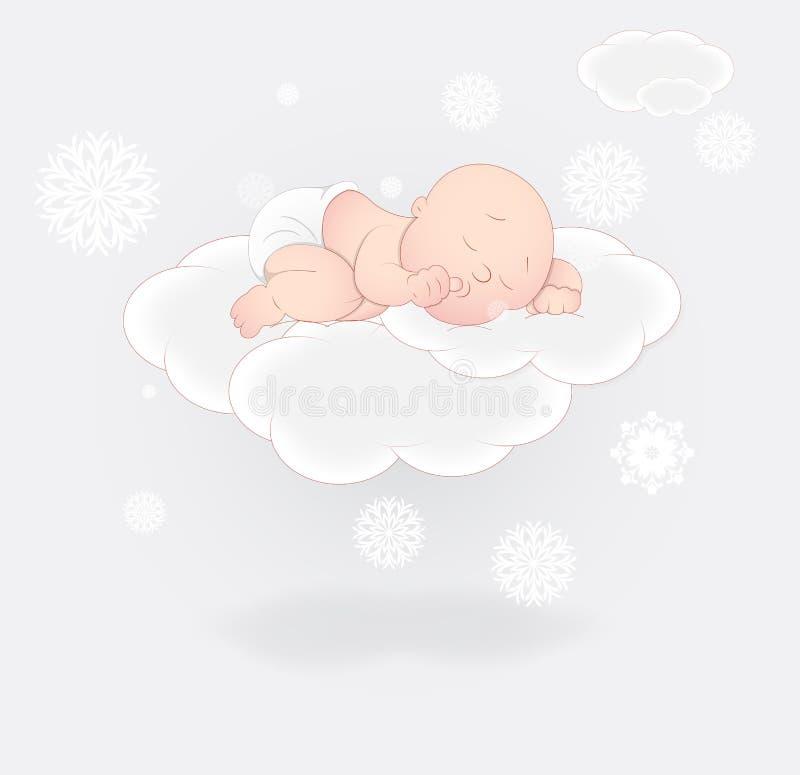 De leuke Slaap van de Baby op Wolk stock illustratie