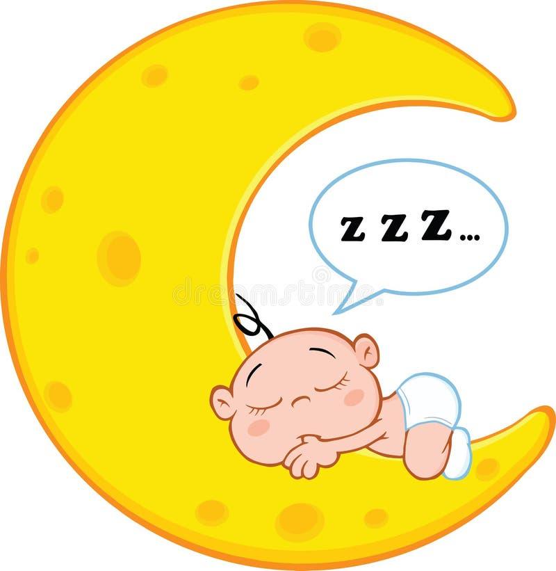 De leuke Slaap van de Babyjongen op Maan met Toespraakbel vector illustratie