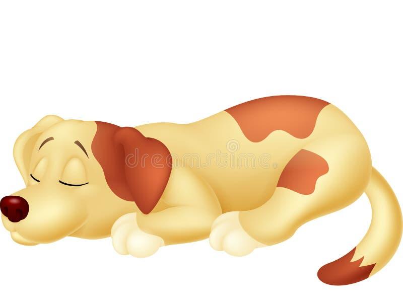 De leuke slaap van het hondbeeldverhaal stock illustratie