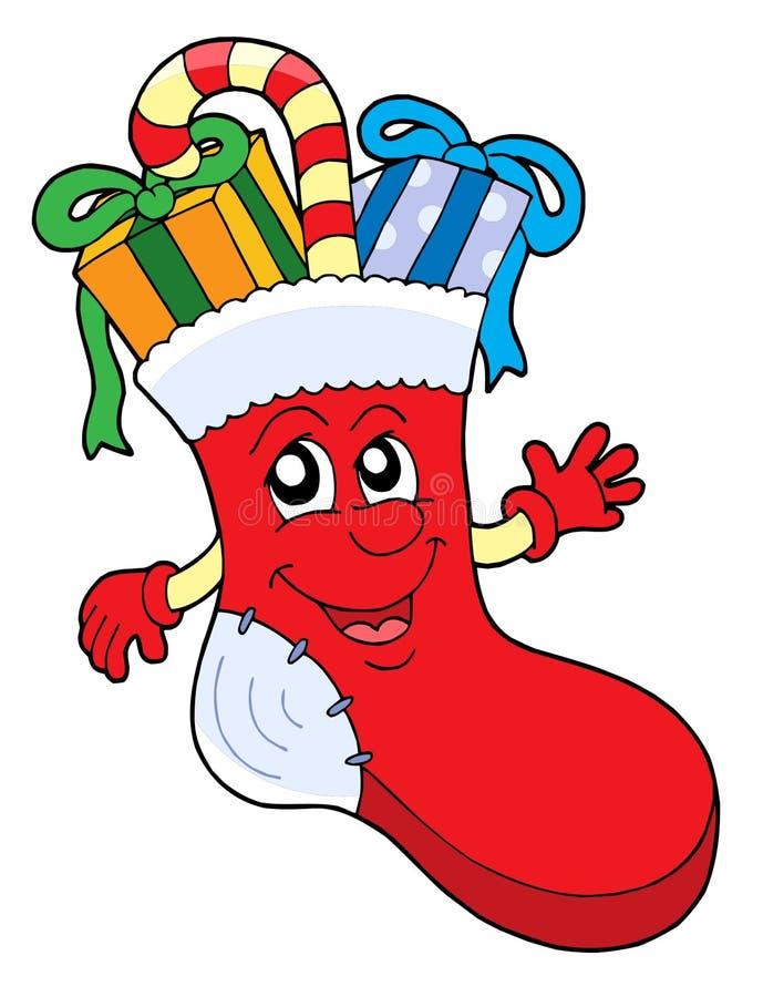 De leuke sok van Kerstmis met giften royalty-vrije illustratie