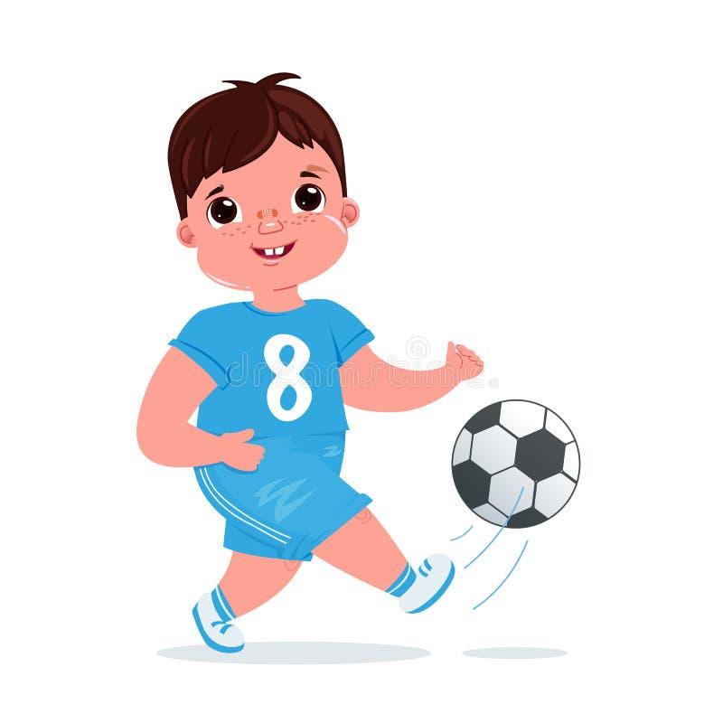 De leuke speelvoetbal van de babyjongen met een voetbalbal Het team moderne eenvormig van de speler gezonde activiteiten royalty-vrije illustratie