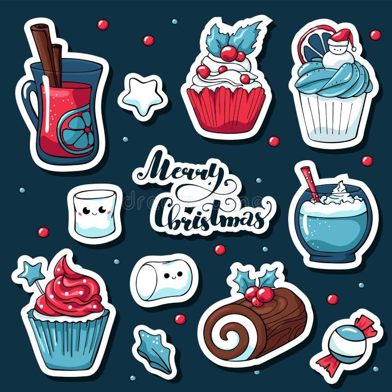 De leuke stickers van krabbelkerstmis in beeldverhaalstijl Vectorhand getrokken beelden van suikergoed, heemst, overwogen Kerstmi stock illustratie