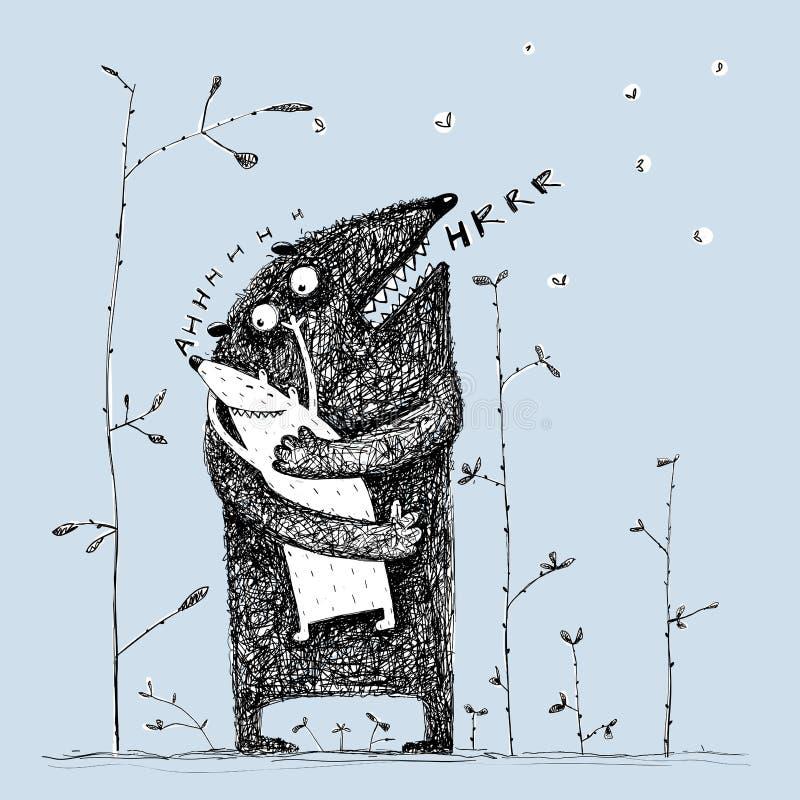 De leuke sweety knuffel van het ouderschepsel weinig baby het zingen lied royalty-vrije illustratie