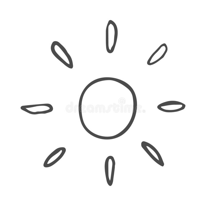 De leuke tekening van de beeldverhaalhand getrokken zon Zoete vector zwart-witte zontekening Geïsoleerde zwart-wit krabbelzon die royalty-vrije illustratie