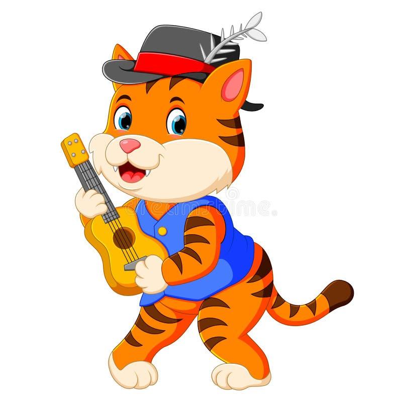 De leuke tijger gebruikt de zwarte hoed en het spelen van de gitaar royalty-vrije illustratie