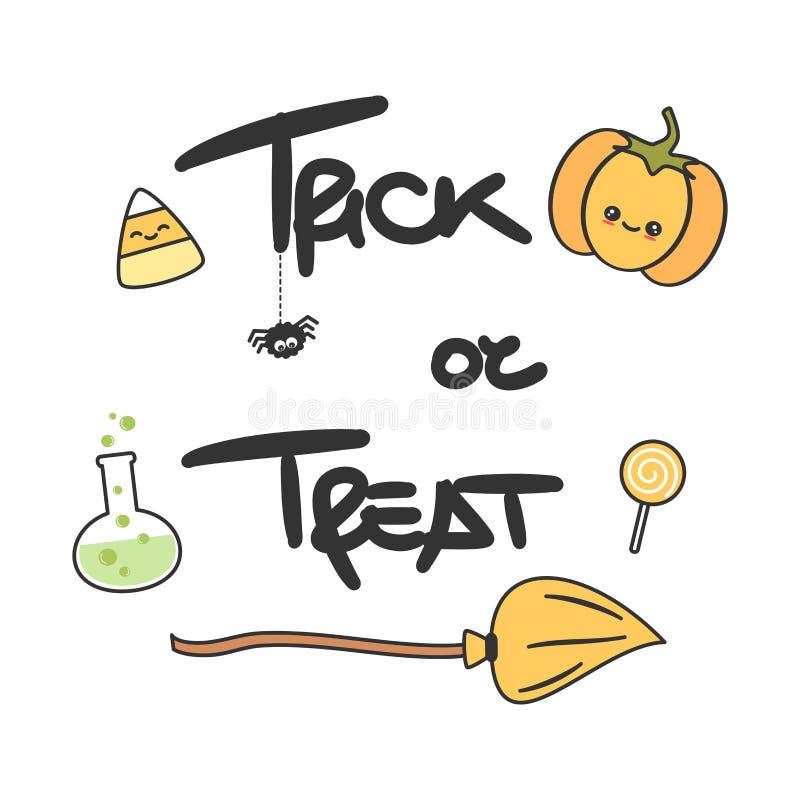 De leuke Truc of behandelt hand getrokken het van letters voorzien vector met een pompoen voor Halloween-partijuitnodiging, affic stock illustratie