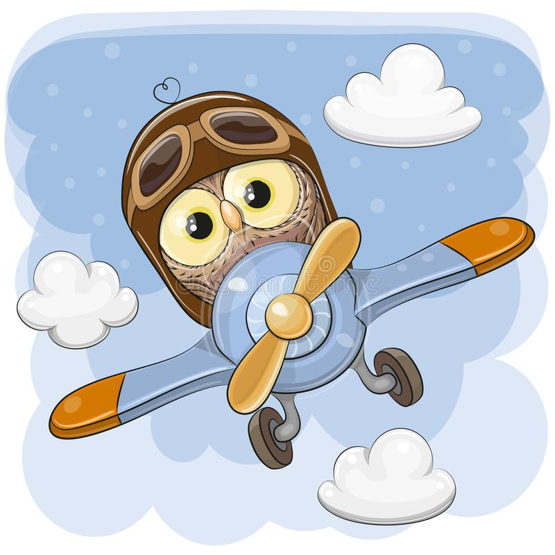 De leuke Uil vliegt op een vliegtuig