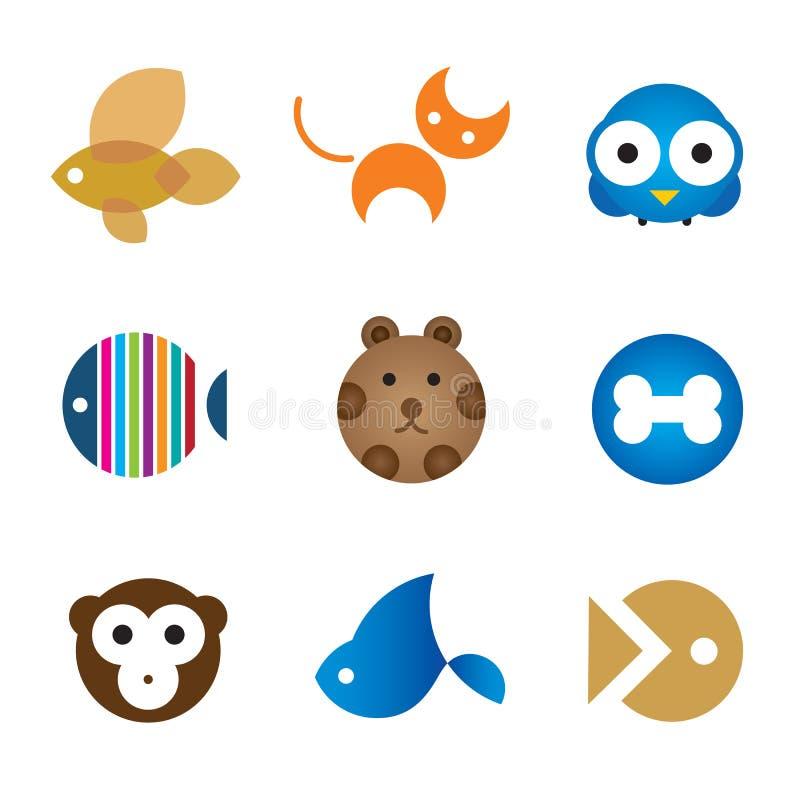 De leuke uiteinden van huishuisdieren voor het gelukkige pictogram van het familieembleem royalty-vrije illustratie