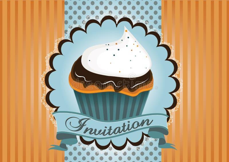 De leuke uitnodiging van de kopcake vector illustratie