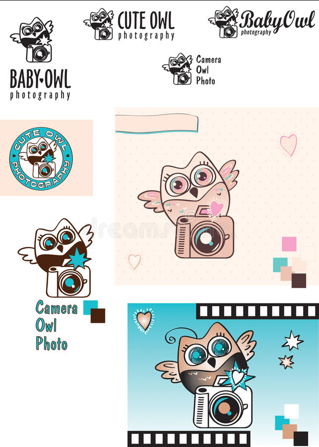 De leuke van het baby-Uil variaties Fotograaf vectorembleem Uil met een camera Rebecca 36 kleur Decoratieve Elementen stock fotografie