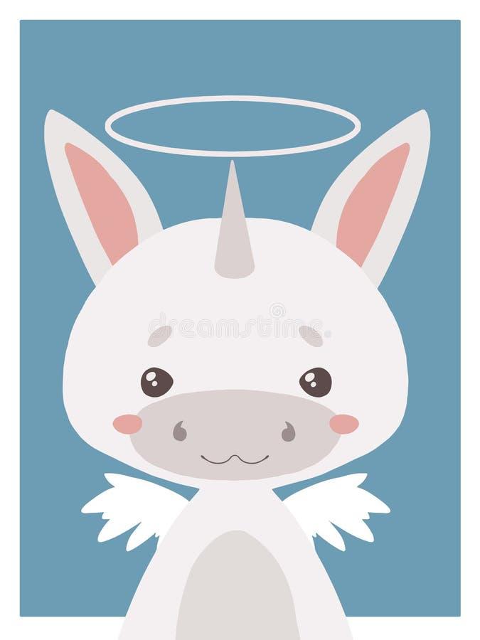 De leuke van het kinderdagverblijfvecor van de beeldverhalenstijl dierlijke tekening van een beschermengeleenhoorn met halo en vl stock illustratie