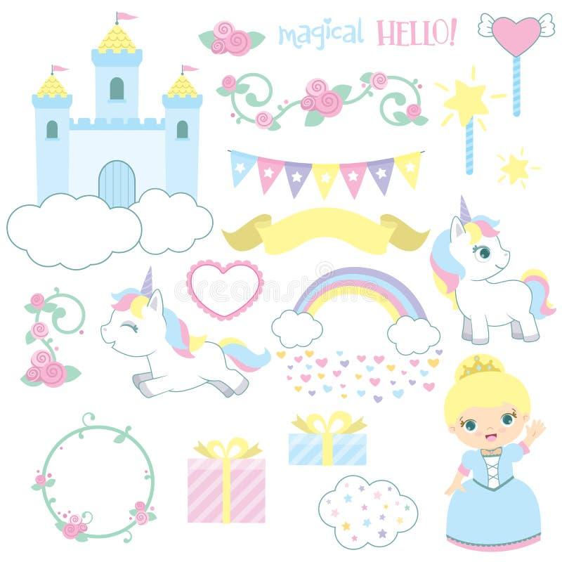 De leuke van de Prinsesunicorn birthday design elements set van het Sprookjekasteel VectordieIllustratie op Wit wordt geïsoleerd royalty-vrije illustratie