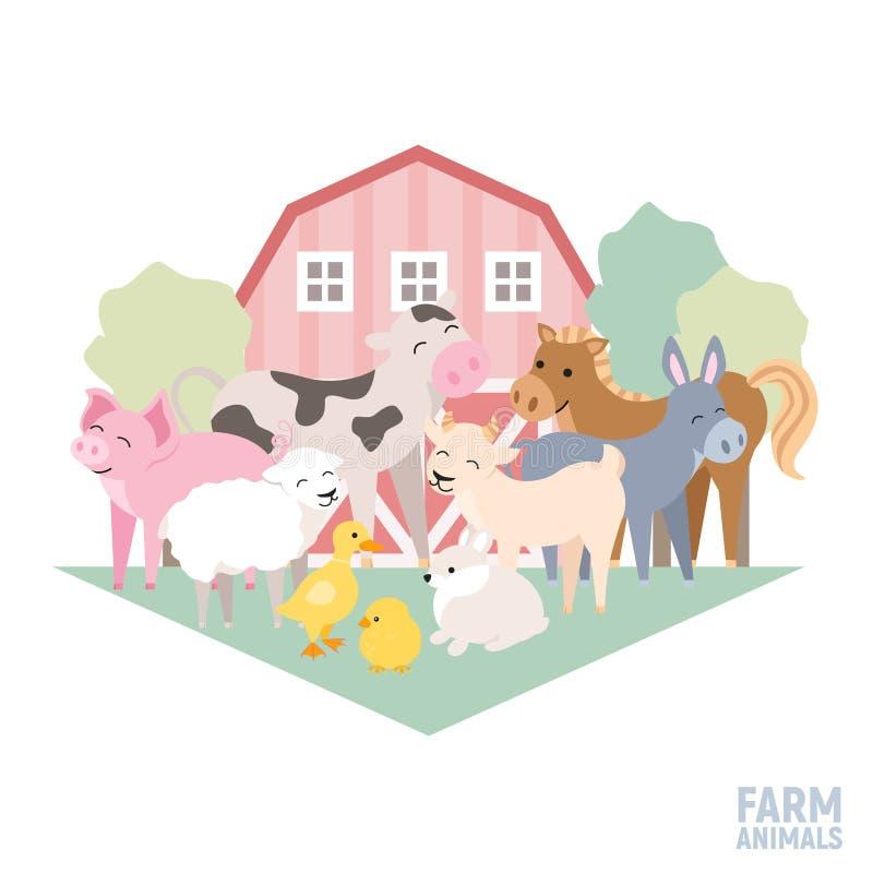 De leuke vastgestelde koe van het landbouwbedrijf dierlijke jonge geitje, varken, lam, ezel, konijntje, kuiken, paard, geit, geïs stock illustratie