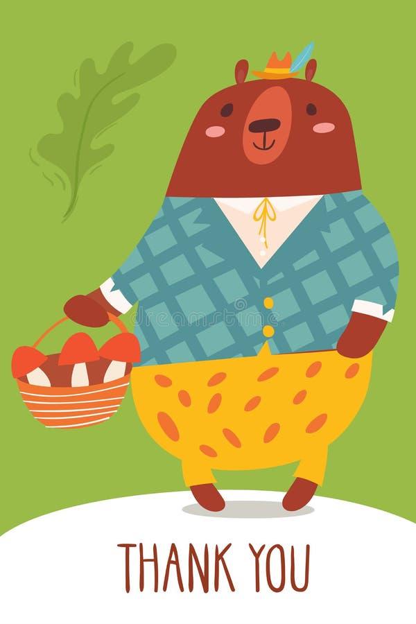 De leuke vector dankt u kaardt met een beer royalty-vrije illustratie