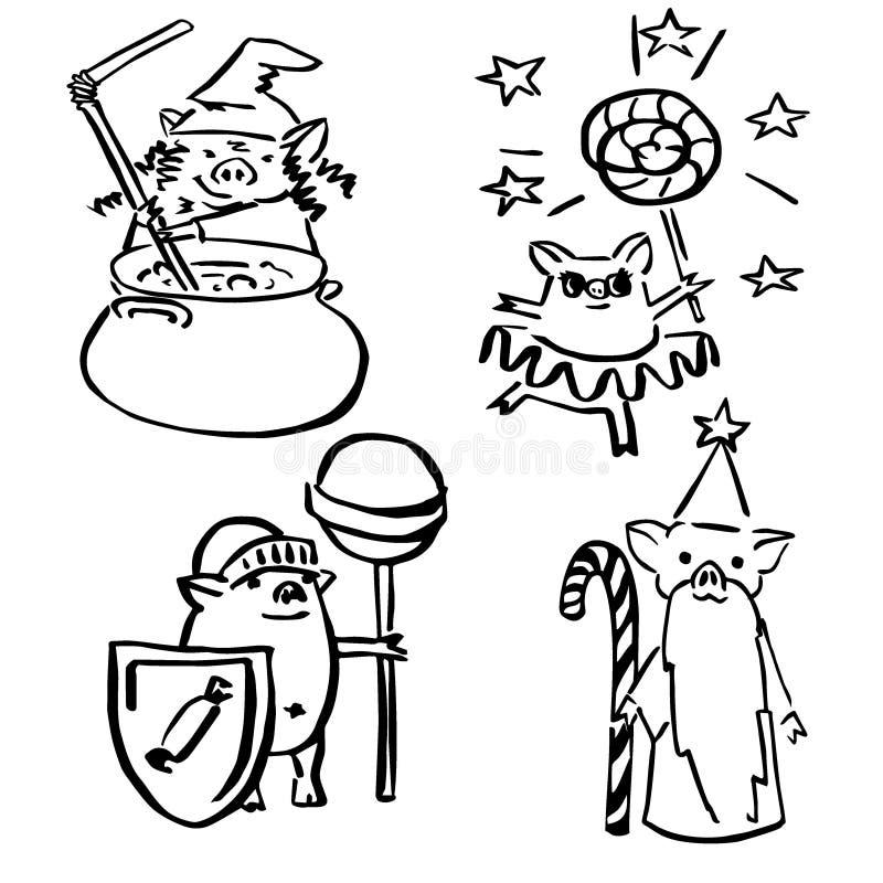 De leuke vector grappige reeks kostumeerde magische varkens royalty-vrije illustratie