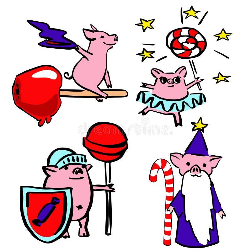 De leuke vector grappige reeks kostumeerde magische varkens vector illustratie