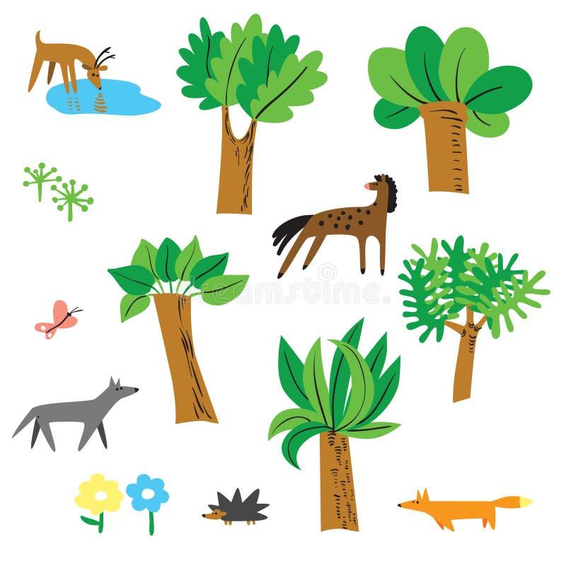 De leuke vector plaatste met bosinwoners - paard, herten, wolf, vos vector illustratie