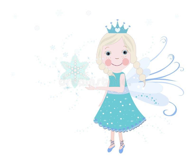 De leuke vector van het sneeuwsprookje met sneeuwvlokkenachtergrond royalty-vrije illustratie