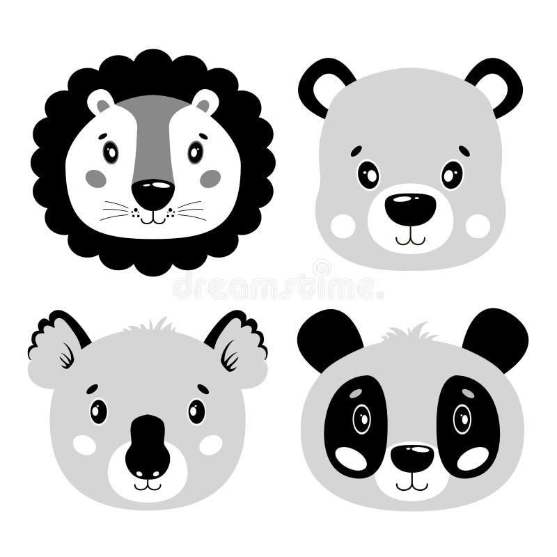 De leuke vector vastgestelde leeuw, panda, draagt, koalagezicht Één voorwerp op een witte achtergrond De illustratie van het beel vector illustratie