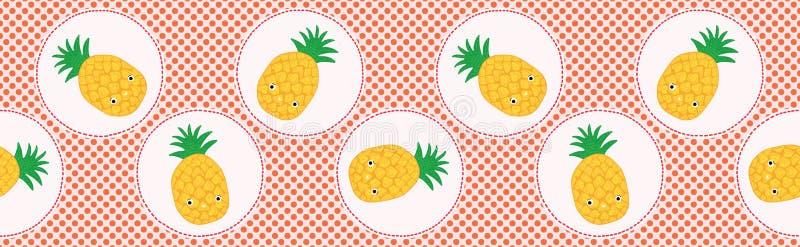 De leuke vectorillustratie van de ananasstip Naadloos het herhalen patroon royalty-vrije illustratie