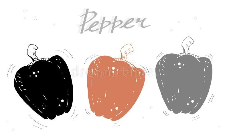 De leuke vectorillustratie van de beeldverhaalkleur met peper en inschrijving stock illustratie