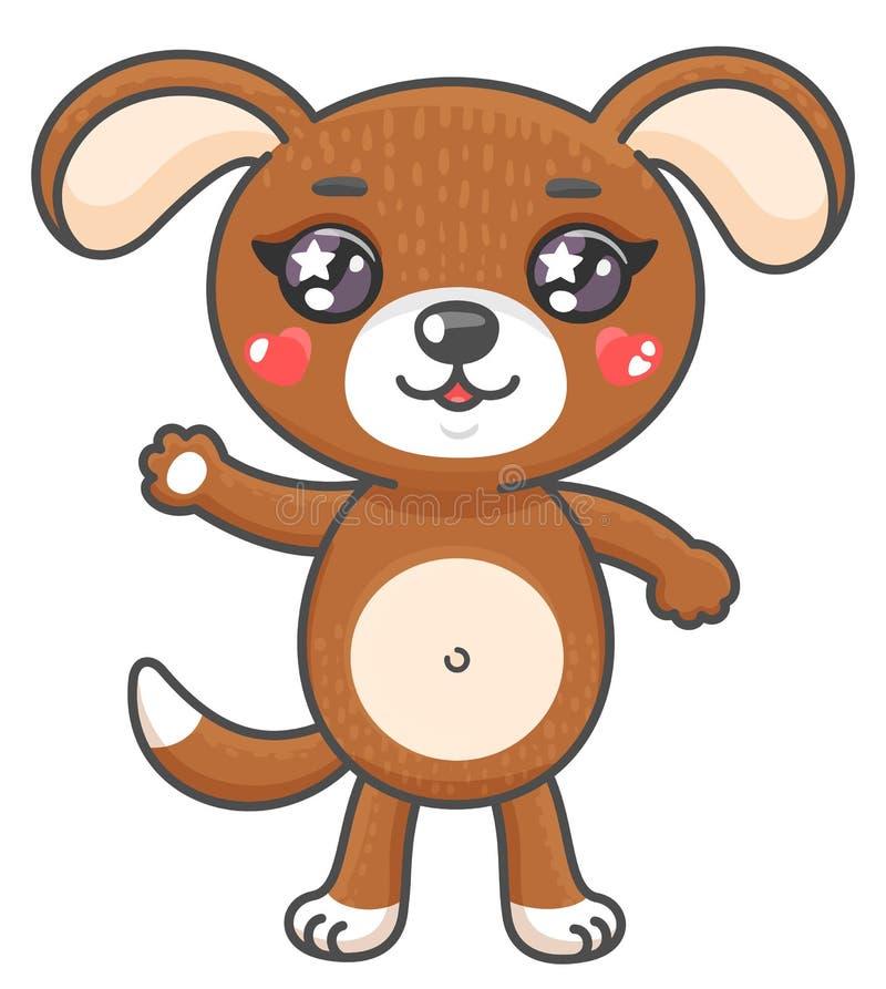 De leuke vectorillustratie van het puppybeeldverhaal Glimlachend baby dierlijke die hond in kawaiistijl op witte achtergrond word stock illustratie