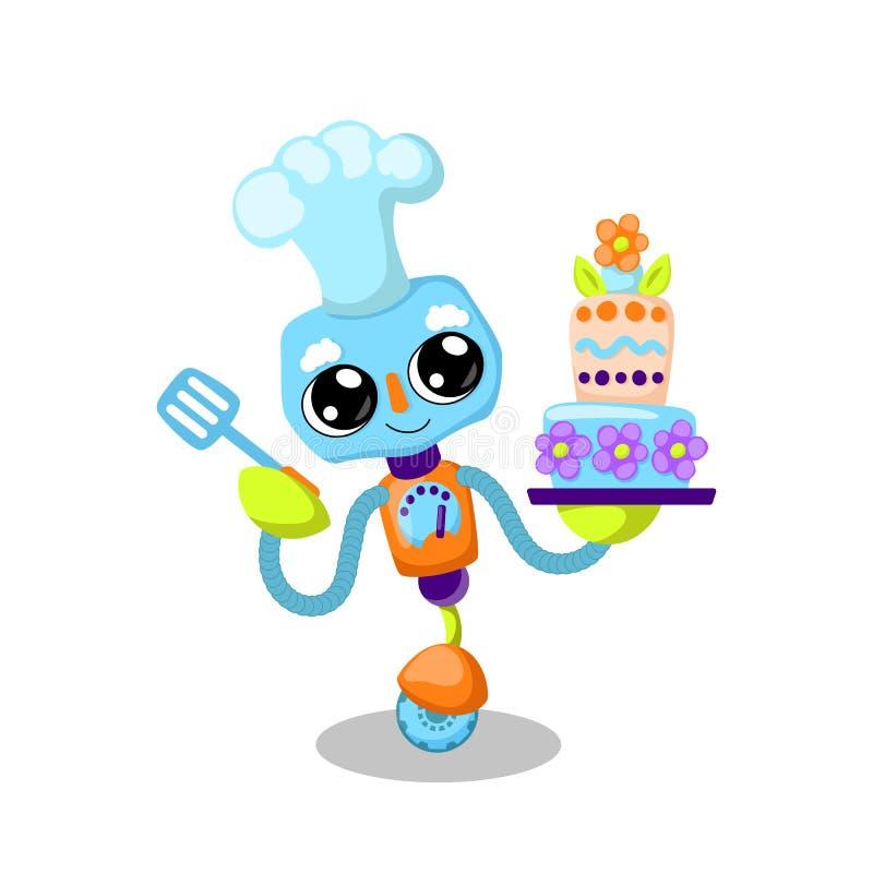 De leuke vectorillustratie van het robotkarakter op witte achtergrond Kokende cake met moderne technologie Robotbakker royalty-vrije illustratie