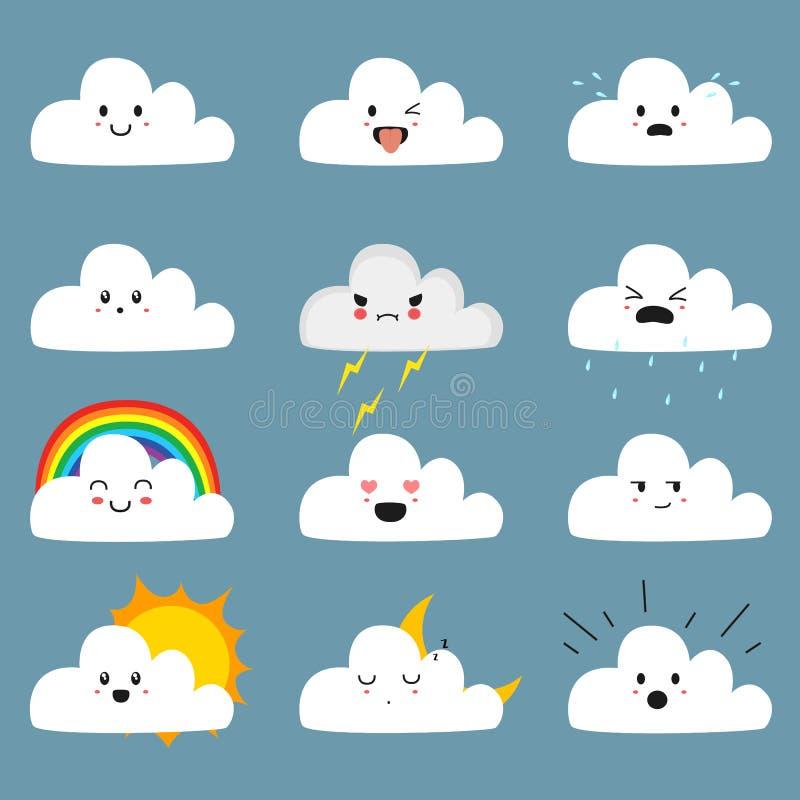 De leuke Vectorinzameling van Wolkenemojis stock illustratie