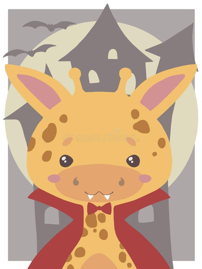 De leuke vectorkunst van Halloween voor kinderen, Giraf omhoog gekleed als vampier met hoektanden en rode cloa stock illustratie