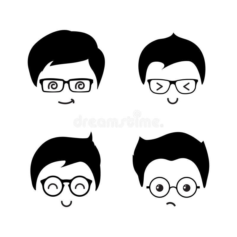De leuke vectorpictogrammen van geekjongens van reeks stock illustratie