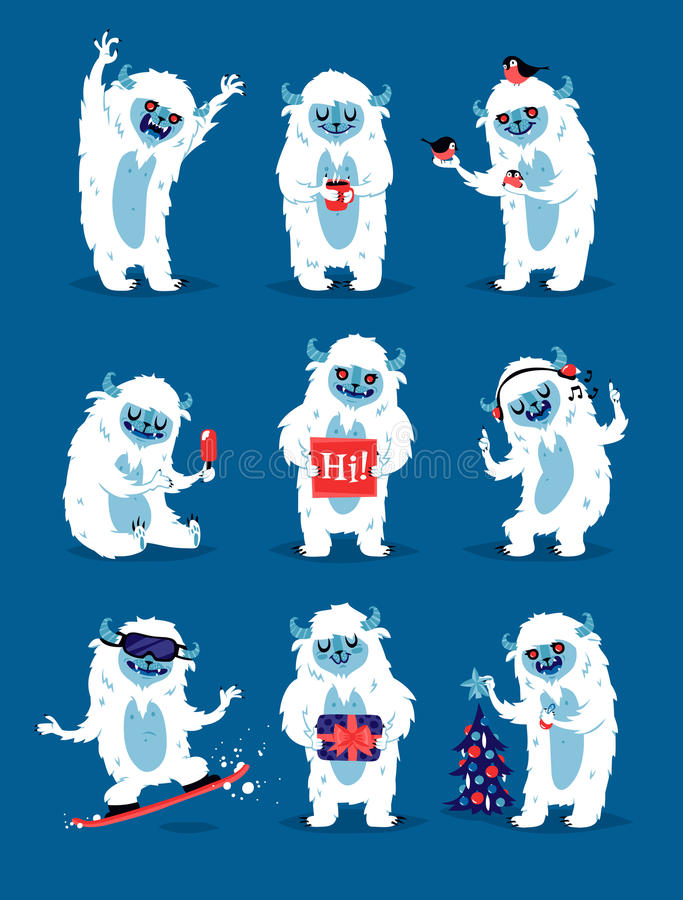 De leuke vectorreeks van yeti bigfoot monsters stock illustratie