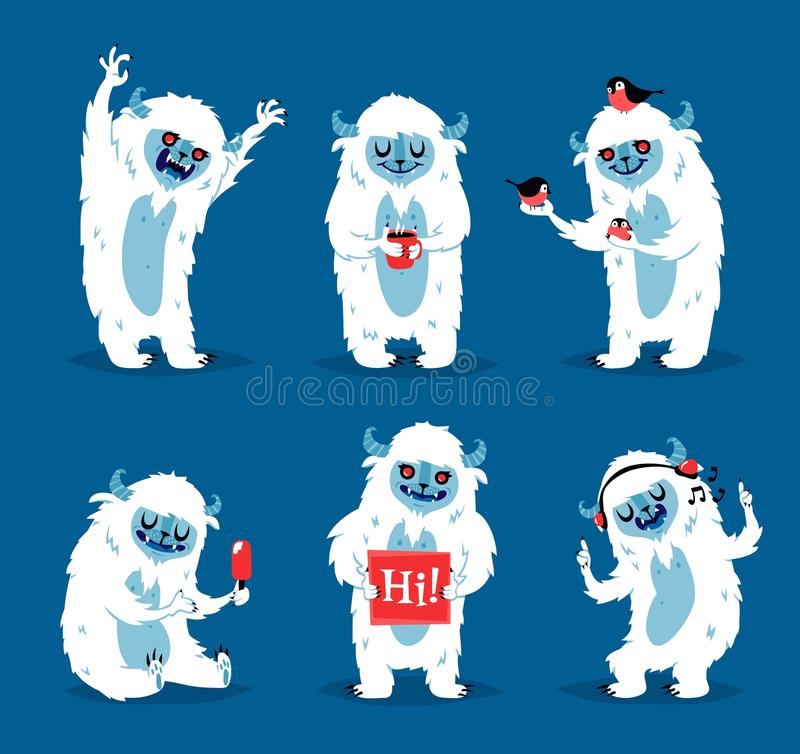 De leuke vectorreeks van yeti biigfoot monsters vector illustratie