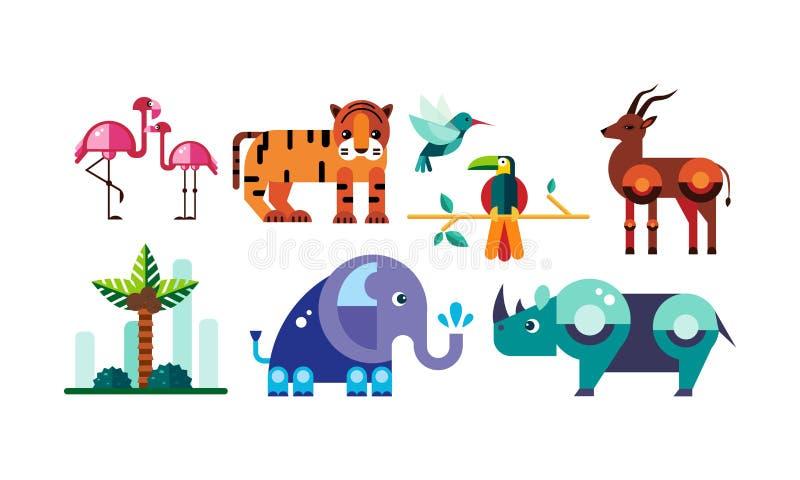 De leuke veelhoekige Afrikaanse dieren plaatsen, flamingo, tijger, antilope, papegaai, olifant, rinoceros vectorillustratie op ee royalty-vrije illustratie