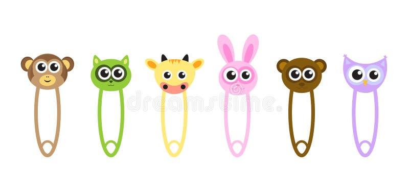 De leuke veiligheidsspelden van babydieren, spelden met dieren, de spelden van beeldverhaaldieren, vectorillustratie stock illustratie