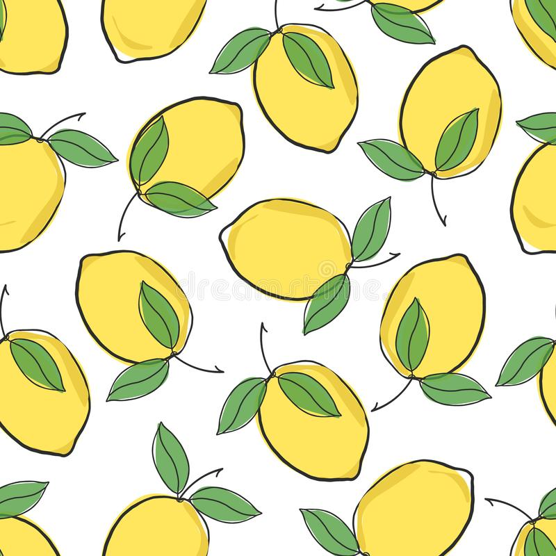 De leuke verse citroengele vector herhaalt naadloos patroon op een witte achtergrond stock fotografie