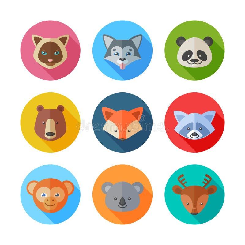 De leuke vlakke pictogrammen van dierenportretten vector illustratie