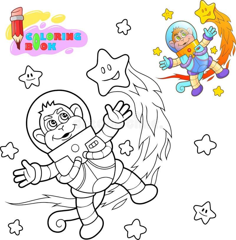 De leuke vliegen van de aapastronaut onder de sterren die boek kleuren stock illustratie