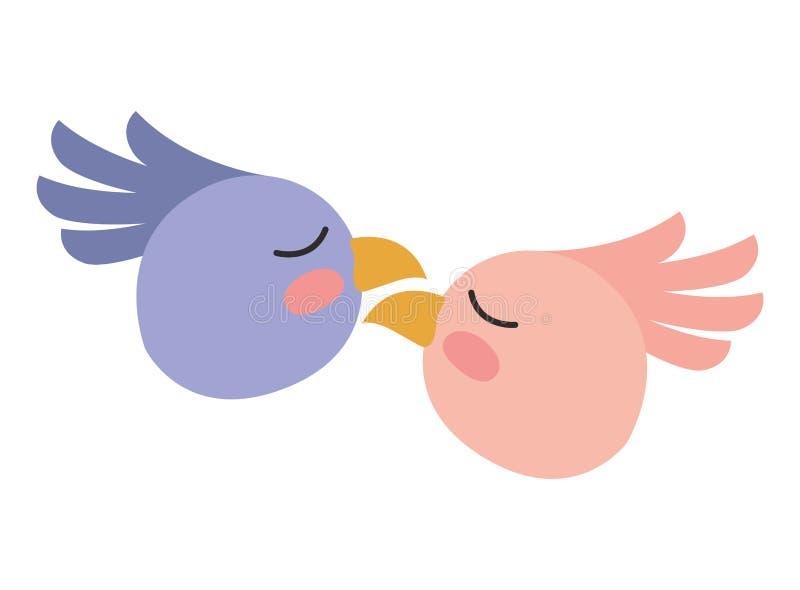 De leuke vogels koppelen hoofden stock illustratie